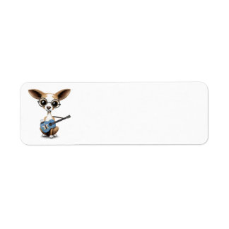 Chihuahua Puppy Dog Playing Somali Flag Guitar Return Address Label