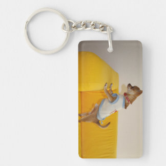 Chihuahua Puppy On Yellow Sofa Double-Sided Rectangular Acrylic Key Ring