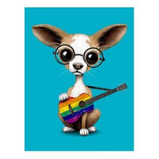 Chihuahua Puppy Playing Gay Pride Rainbow Guitar Postcard
