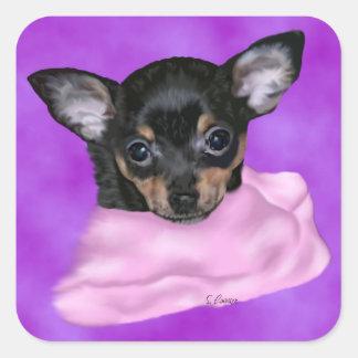 Chihuahua Puppy Portrait Print Square Sticker