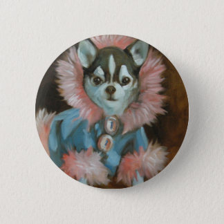 Chihuahua puppy with pink and blue jacket 6 cm round badge
