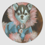 Chihuahua puppy with pink and blue jacket classic round sticker