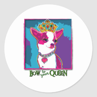 Chihuahua Queen Classic Round Sticker