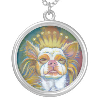Chihuahua Queen fun original Long haired dog art Silver Plated Necklace