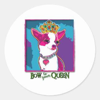 Chihuahua Queen Round Sticker
