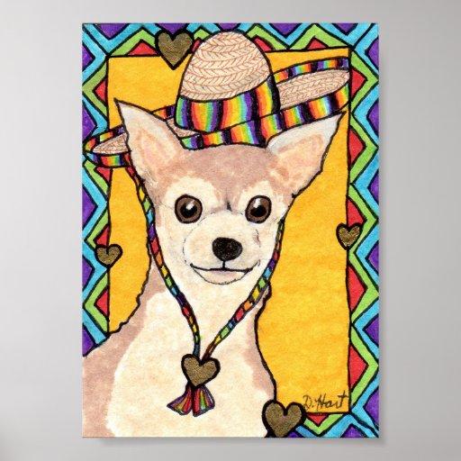 Chihuahua & Rainbow Sombrero Mini Mexican Folk Art