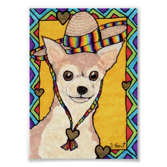 Chihuahua & Rainbow Sombrero Mini Mexican Folk Art