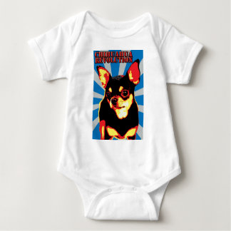chihuahua revolution - blue baby bodysuit