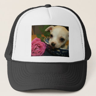 Chihuahua rose flower love trucker hat