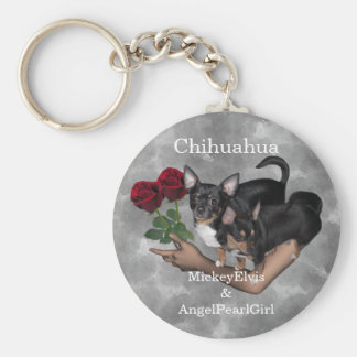 Chihuahua Roses Keychain Basic Round Button Keychain