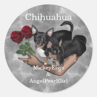 Chihuahua Roses Sticker Lrg