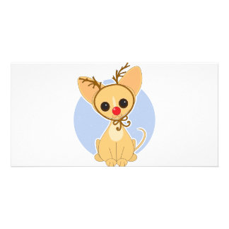 Chihuahua Rudolf Photo Greeting Card