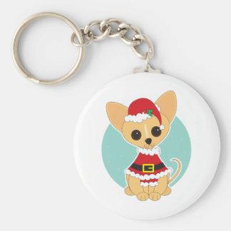 Chihuahua Santa Key Ring