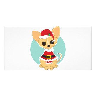 Chihuahua Santa Customized Photo Card