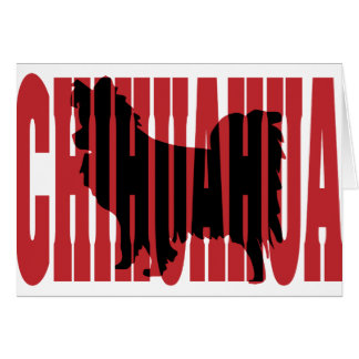 Chihuahua silhouette long coat greeting card