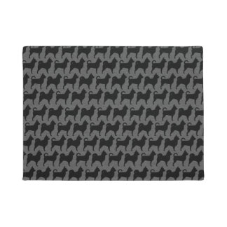 Chihuahua Silhouettes Black and Grey Pattern Doormat