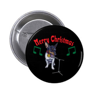 Chihuahua Sings Merry Christmas 6 Cm Round Badge
