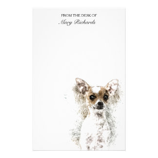 Chihuahua Sketch Pet Portrait Stationery Design