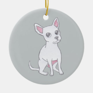 Chihuahua..Small dog with LARGE attitude Round Ceramic Decoration