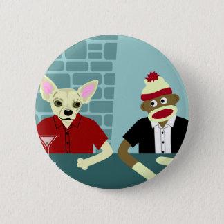 Chihuahua & Sock Monkey 6 Cm Round Badge