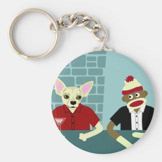 Chihuahua & Sock Monkey Key Ring
