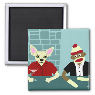 Chihuahua & Sock Monkey Square Magnet