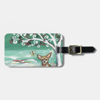 Chihuahua spiritual tree love heart luggage tag