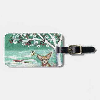 Chihuahua spiritual tree love heart luggage tag