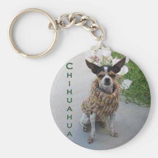Chihuahua Style Basic Round Button Key Ring