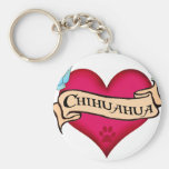 Chihuahua Tattoo Heart Basic Round Button Key Ring