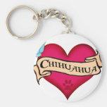 Chihuahua Tattoo Heart Keychains