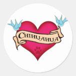 Chihuahua Tattoo Heart Round Sticker