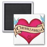 Chihuahua Tattoo Heart Square Magnet