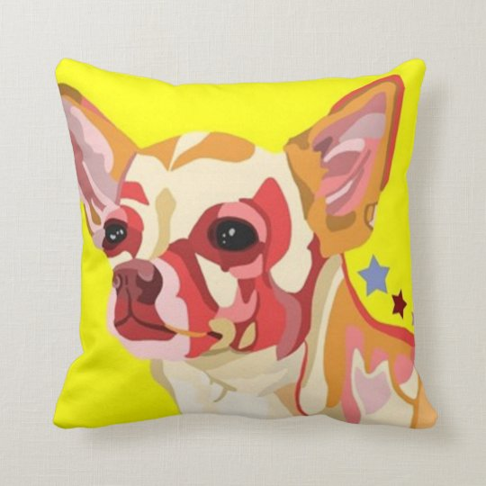 Chihuahua Throw Pillow Colourful Abstract Yellow