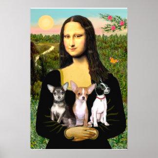 Chihuahua Trio - Mona Lisa Poster