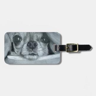 Chihuahua under Blanket original artwork Luggage Tag
