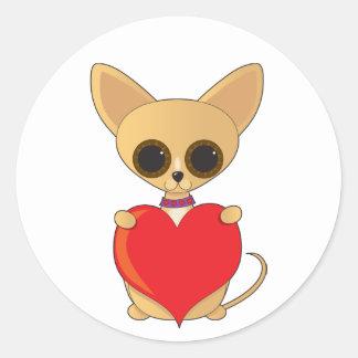 Chihuahua Valentine Round Stickers