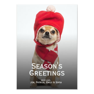 Chihuahua Wearing Christmas Hat And Scarf Card