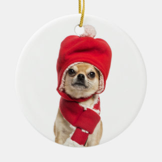 Chihuahua Wearing Christmas Hat And Scarf Christmas Ornament