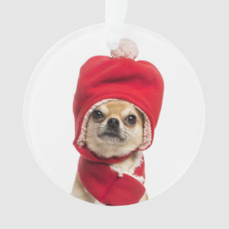 Chihuahua Wearing Christmas Hat And Scarf Ornament