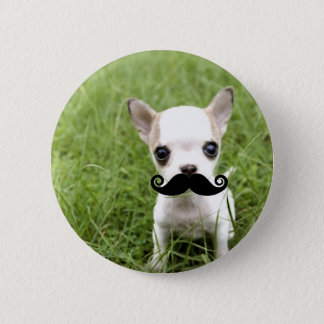 Chihuahua with Funny Mustache in Garden 6 Cm Round Badge