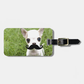 Chihuahua With Funny Mustache in Garden Luggage Tag