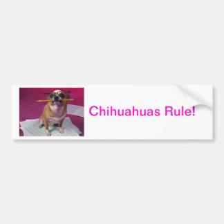 Chihuahua With Pencil Car Bumper Sticker