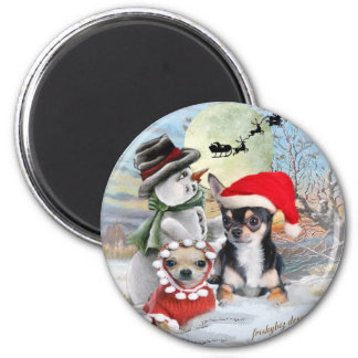 Chihuahua with Snowman Gifts Fridge Magnets