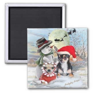 Chihuahua with Snowman Gifts Square Magnet