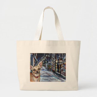 Chihuahua xmas wintry scene tote bags