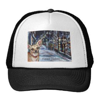 Chihuahua xmas wintry scene hats