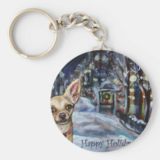 Chihuahua xmas wintry scene keychains