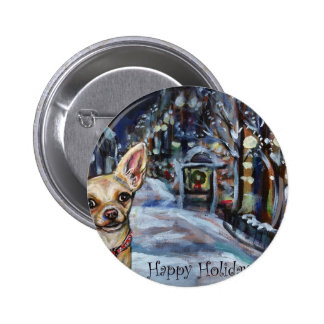 Chihuahua xmas wintry scene pinback buttons