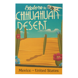 Chihuahuan Desert USA mexico travel poster Wood Prints
